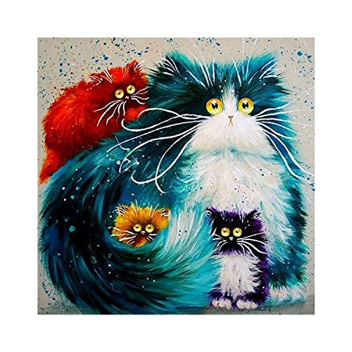 5D DIY Diamond Painting Kit, 5D Full Drill Rhinestone DIY Crafts for Adults & Kids Colorful Cat Crystal Gem Arts Painting Perfect for Home Wall Decor (15.7 x 15.7 Inch)