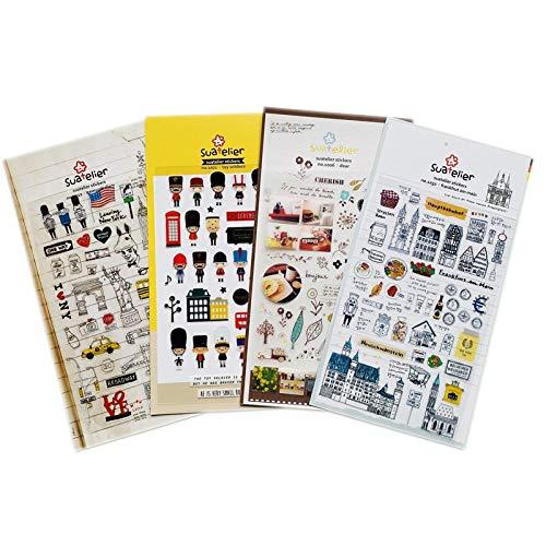 1 Hoja de Bonitos Soldados de Juguete, Diario de Nueva York, Pegatinas de la Vida de Londres, Etiqueta Adhesiva DIY, decoración de Cuentas de Mano de PVC