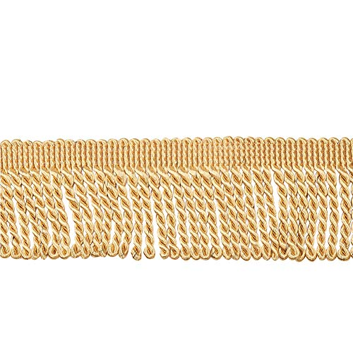 WANDIC Bullion franskant, 13 meter guld polyester lång bullion frans trim för gardin, soffa, hantverk och dekoration