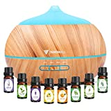 500ML Essential Oil Diffuser, Aroma Diffuser, Humidifier, with 8 Bottles of 10ml Essential Oil (Different Odors), 7 Color LED lamp,Multiple Fogging Modes-Yellow Wood Grain