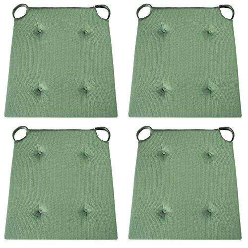 sleepling 4er Set Stuhlkissen/Sitzkissen für Indoor und mit Klettverschluss, Maße: 42 (vorne) / 35 (hinten) x 40 x 5 cm, grün