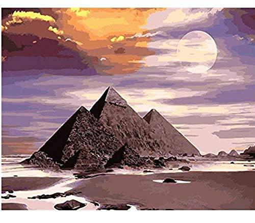Pintura de lienzo preimpresa de bricolaje por kits de números para adultos pirámide egipcia 40x50cm-sin marco