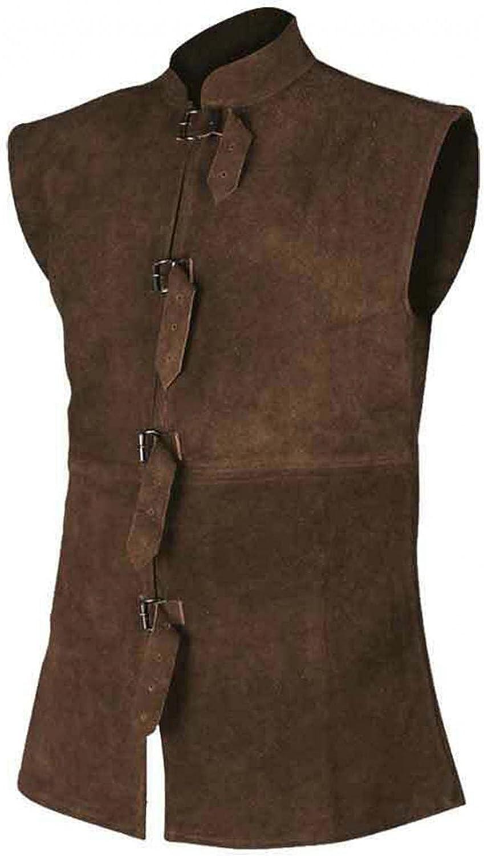 Beshion Men's Retro Vest Waistcoat Collar Solid Color Button Strap Jacket Casual Slim Fit Caots