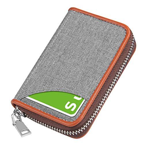 クレジットカードケース カード入れ キャンバス 小銭入れ スキミング防止 磁気防止 じゃばら 大容量 コインケース メンズ レディース (浅灰)
