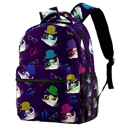 Backpacks for Adults Boys Girls Kids Durable Travel Business Bags Laptop Bags Daypack for School Outdoor Work Purple Hipster Background Cat
