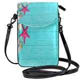 XCNGG Starfish And Seashells Cell Phone Purse Wallet for Women Girl Small Crossbody Purse Bags