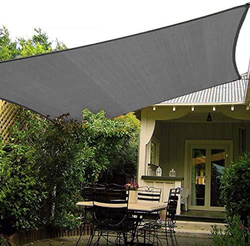 Parasol de Vela, Impermeable 98% Bloque UV Parasol de Lona Toldo de protección Solar Toldo para jardín al Aire Libre Patio Fiesta en el Patio (Color : Gris, Tamaño : 2X6m)