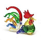 ZOOCRAFT Colorful Glass Rooster Chicken Animal Figurine Farm Miniature Hand Blown Art