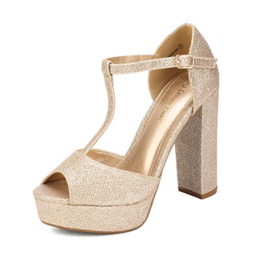 DREAM PAIRS - Sandali da donna, con tacco alto, con cinturino alla caviglia, oro (Oro/glitter.), 42 EU