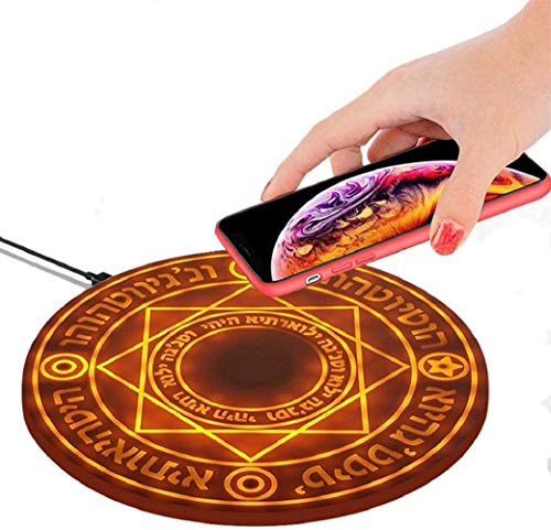 Mitsuru Magic Array Light Fast Qi Wireless Charger, Magic Array Wireless Charger, Magic Array Led Charger, Compatible With Iphone 8/X/11/Pro, Galaxy S7/ S8/ S9/ S10/ S10+ And Others (brown)