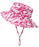 Simplicity Packable Camo Bucket Sun Hat Toddler Girl with String, Pink Camo / 12-24 Months