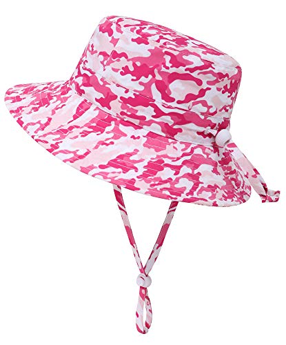 Simplicity Newborn Sun Hat Infant Beach Hat uv Baby Hat Breathable Infant Girl Sun Hat Camo Pattern with Chin Strap Sunhat for Baby Girl, Pink Camo, 0-12 Months