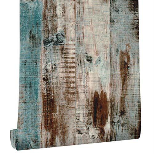 bobeini 6M Vinilo 3D tablón de Madera rústico Papel Tapiz Autoadhesivo Muebles Pegatinas de Pared cáñamo marrón