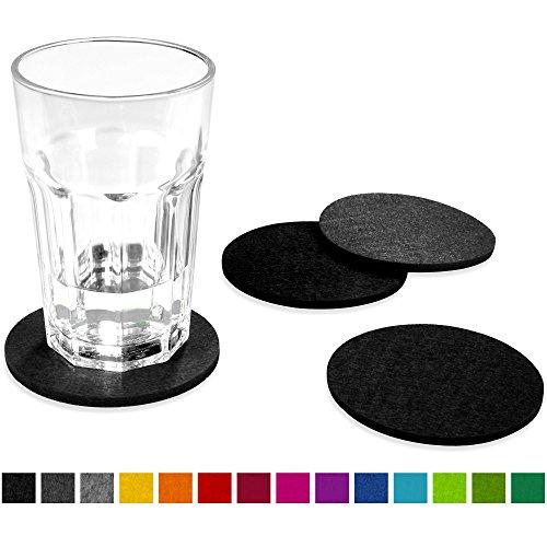 FILU Filzuntersetzer rund 8er Pack (Farbe wählbar) Mix Schwarz & Dunkelgrau - Untersetzer aus Filz für Tisch und Bar als Glasuntersetzer/Getränkeuntersetzer für Glas und Gläser