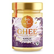 California Garlic Grass-Fed Ghee Butter by 4th & Heart, 9 Ounce, Pasture Raised, Non-GMO, Lactose Free, Certified Paleo and Keto (PACK OF 3)