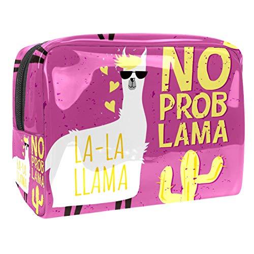 Bolsa de Cosméticos Lindo Cactus de Alpaca Bolsa de Maquillaje de Patrón de la Moda Bolso Cosmetico Multipropósito con Cierre de Cremallera Viajes Organizador 18.5x7.5x13cm