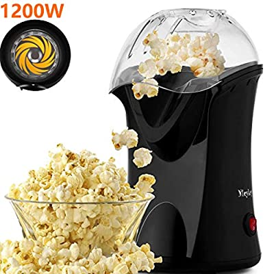 Popcorn Popper, Hot Air Popcorn Popper 1200W No Oil Popcorn Maker with Measuring Cup and Removable Top Cover