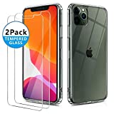 OULUOQI Compatible with iPhone 11 Pro Max Case 2019,Tempered Glass Screen Protector [2Pack] with Shockproof Clear Case for iPhone 11 Pro Max 6.5 inch.(Clear)
