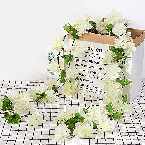 Ousuga fiore di ciliegio artificiale, 4 pezzi di fiori di ciliegio in seta appesi ghirlanda di fiori...