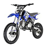 125cc Adults Dirt Bike with 4-Speed Manual Transmission, Double Spare Frame! Kick Start, Big 17'/14' Tires! Not Legal in California (Blue)