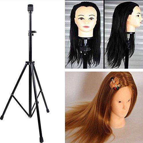 Maniquí soporte, gran soporte de metal peluca cabeza maniquí soporte para trípode para peluquería formación con bolsa de transporte, altura ajustable de 80–160cm