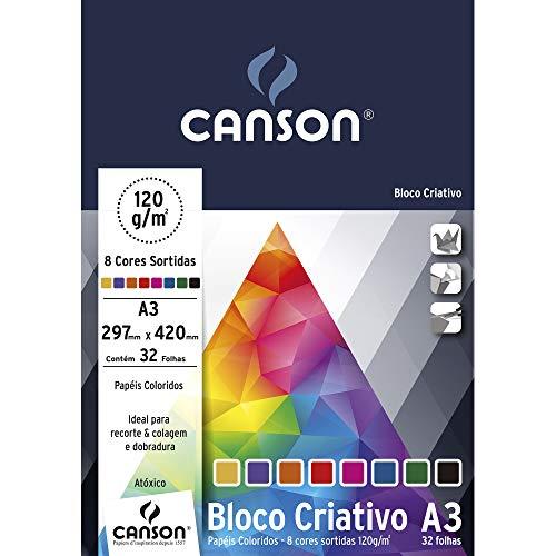 Bloco Criativo Cards A3 120g/m², Canson, 66667161, 8 Cores, 32 Folhas