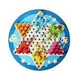 Silk Road YX Damas Damas de Salto de Colores, Backgammon, Damas de ajedrez hexagonales de Madera para Padres e Hijos 2 en 1, Set de Juguetes para niños