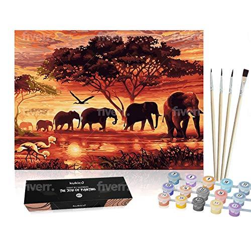Kukicu Pintar por Numeros Adultos Niños - Cuadros para Pintar con Pinceles Lienzo Pinturas al Oleo - DIY Kit - Dibujos, Arte y Manualidades (40 * 50cm, Sin Marco) - Elefantes