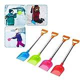 4PC Schneeschieber Kinder Stabil, Kunststoff Schneeschaufel mit Metall Stiel, Sandschaufel Groß Spielstabil, Kinderschaufel Kunststoffschaufel für Strand Schnee Winter Outdoor (Mehrfarbig)