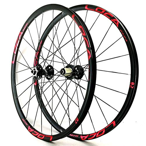 YXYH 26'' 27.5'' Bike Front + Rear Wheel Set Double Wall Bicycle Wheelset Six Nail Disc Brake Quick Release for Cassette Flywheel 7 8 9 10 11 12 (Color : Black Hub red Logo, Size : 27.5inch)