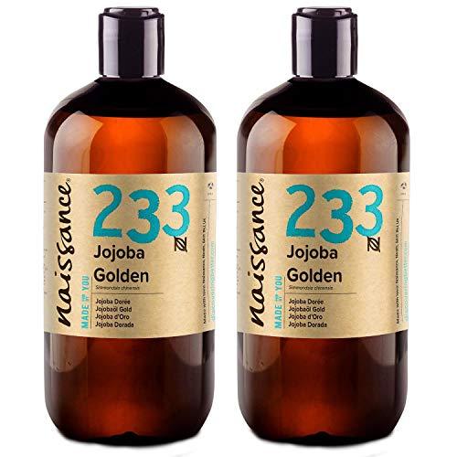 Naissance Jojobaöl Gold (Nr. 233) 1 Liter (2 x 500ml) 100{7618a04bbdb7a91f317a648d20c5c65261b25dd7b81b5c737c422e756f62c58f} reines, kaltgepresstes Öl