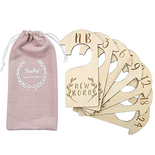 Premium Wood Baby Wardrobe Dividers,Set of 7,from Newborn to 24 Month,Baby Closet Organizers,Nursery Decor,Baby Clothes Organizers (Style 4)