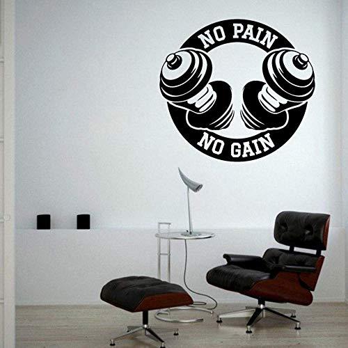 Motivación No Pain No Gain Vinilo Tatuajes De Pared Dormitorio Decoración Interior Del Hogar Deporte Fitness Art Sticker Home Gym Decorar 62X57 Cm