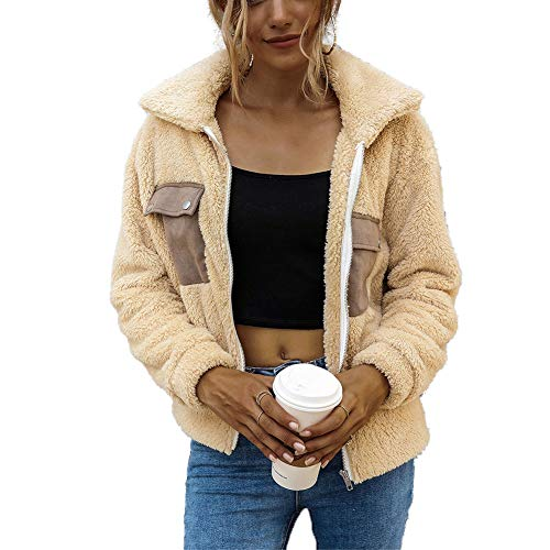 Xiaoqiao Damen Faux Shearling Jacke, Casual Revers Fleece Flauschige Jacke Zotteljacke Reißverschluss Mantel mit dicken Patchwork-Taschen Gr. S, beige