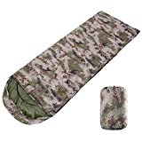 Boshen 3 Season Waterproof Sleeping Bag 82.7' x 29.5' with Carry Bag-2.2Ibs Ultralight 41℉-68℉ Envelope Sleeping Bag Hollow Cotton Filled for Adults Kids Camping/Hiking/Backpacking (Digital Camo)