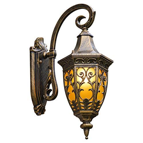 LGOO1 Lanterna parete tradizionale classica Capovolto apparecchio di illuminazione europea retrò di vetro all'aperto antico nero e bronzo esterno impermeabile della lampada da parete in alluminio Vict