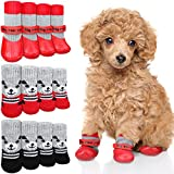 12 Pieces Dog Socks Non-Slip Pet Knit Socks and Dog Paw Protector Set Waterproof Pet Socks with Straps Rubber Sole Gripper Outdoor Dog Sock Boot for Hardwood Floor Small Medium Dog Cat (Medium, Red)
