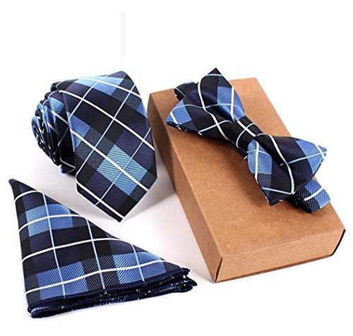 QHDZ Negocio Hombres corbatas Conjunto de corbata a cuadros escoceses de tartán negro y azul para hombres Conjunto de corbata pajarita de tartán con fecha de citas