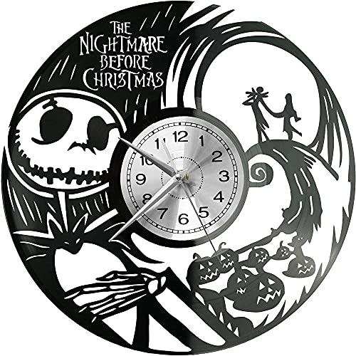 hhhjjj Pesadilla Antes del Gran Reloj de Pared de Vinilo de Estilo Retro navideño