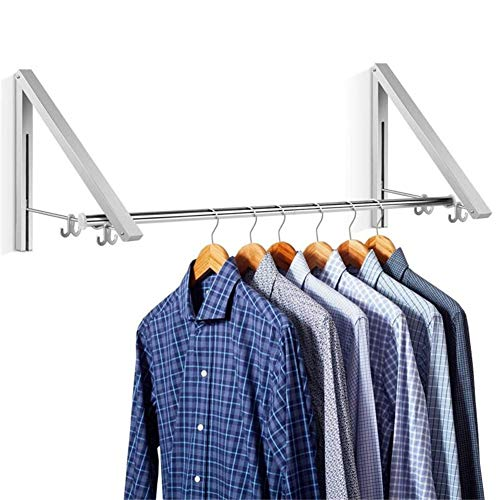 Aluminum Clothes Hanging System Wall Mounted Folding Clothes Hanger Retractable Easy Installation Home Storage Organizer2 in 1
