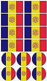 Haberdashery Online 28 Pegatinas de la Bandera de Andorra. Stickers para Bicicletas, Motos, Accesorios (Andorra)