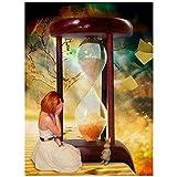 Diamond painting Reloj de arena chica Completo Kit por Número para Pared Decoración del Hogar Arte Manualidades 5D DIY Bordado de Punto de Cruz adultos Diamante Pintura,Diamante redondo,80x100cm