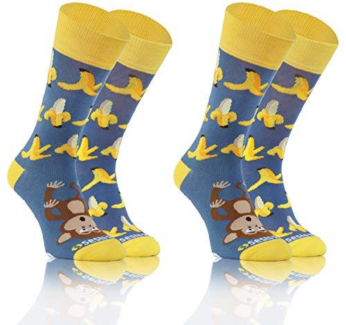 Sesto Senso Lustige Bunte Verschiedene Socken Baumwolle 2 Pack Unisex Gelb Früchte Affe 35-38 Banane