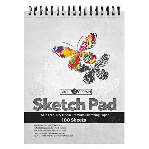 Brite Crown Sketch Book – Sketch Pad 9 x 12-100 Sheets - Perforated Sketchbook Art Paper for Pencils, Pens, Markers, Pastels, Charcoal and Dry Media (64lb/95gsm) Acid Free Drawing Paper