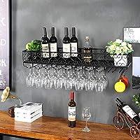 LZQBD ワインラック、多機能鉄壁掛けワインラック/壁棚/装飾棚バー、レストラン、キッチン用防錆ワイングラスラック,ブラック,80 * 25Cm