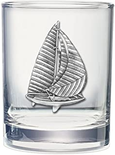 2pc, Pewter Sail Boat Double Old Fashioned Glass