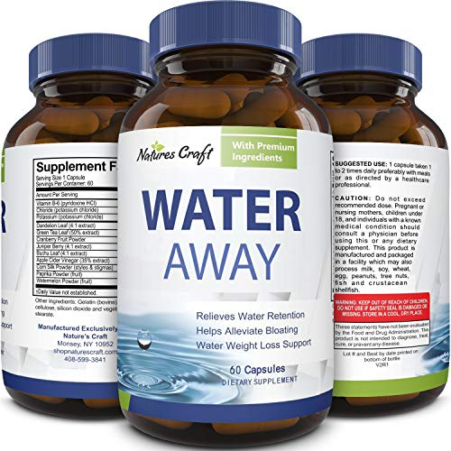 Water Away Diuretic Supplement with Dandelion Leaf – Bloat Relief Pills Weight Loss Relieve Swelling Water Retention – Natural Green Tea Extract Potassium Vitamin B6 for Men & Women