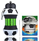Football Water Bottle for Kids - Football Gifts for Boys - Football Training Equipment - Kids Water Bottles for School - BPA FREE, Collapsible - Boys Water Bottle, Leakproof, Durable - 550ml
