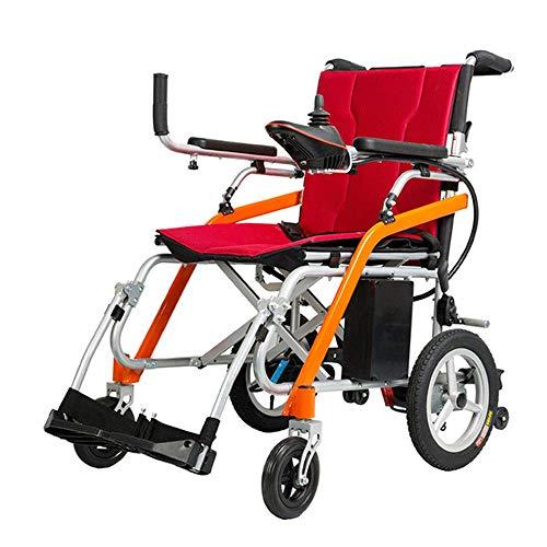 FGVDJ Silla de Ruedas eléctrica portátil y Liviana - Silla de Ruedas eléctrica Smart Discapacitados Ancianos Scooter Plegable Semiautomático de Cuatro Ruedas Ancianos Salir ⭐