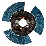 Rhodius Inox Vision Pro - Disco abrasivo de láminas para amoladora angular (10 unidades, 115 mm de diámetro, 125 mm K40 - K80), Ø 125 mm, Körnung 80, 1